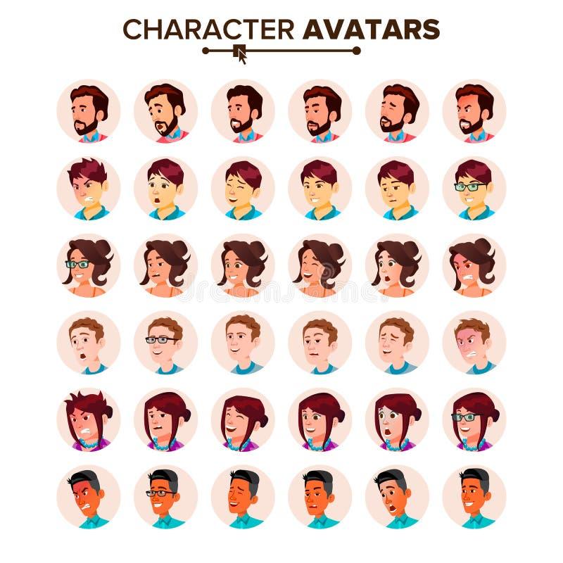 Vector determinado del avatar de la gente Hombre, mujer Persona del usuario Imagen de moda Arte cómico de la cara Trabajador aleg stock de ilustración