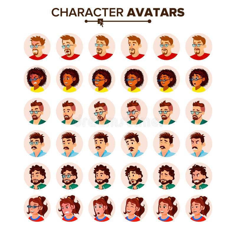 Vector determinado del avatar de la gente Hombre, mujer Pictograma del círculo Imagen expresiva Emociones humanas Imagen con esti libre illustration