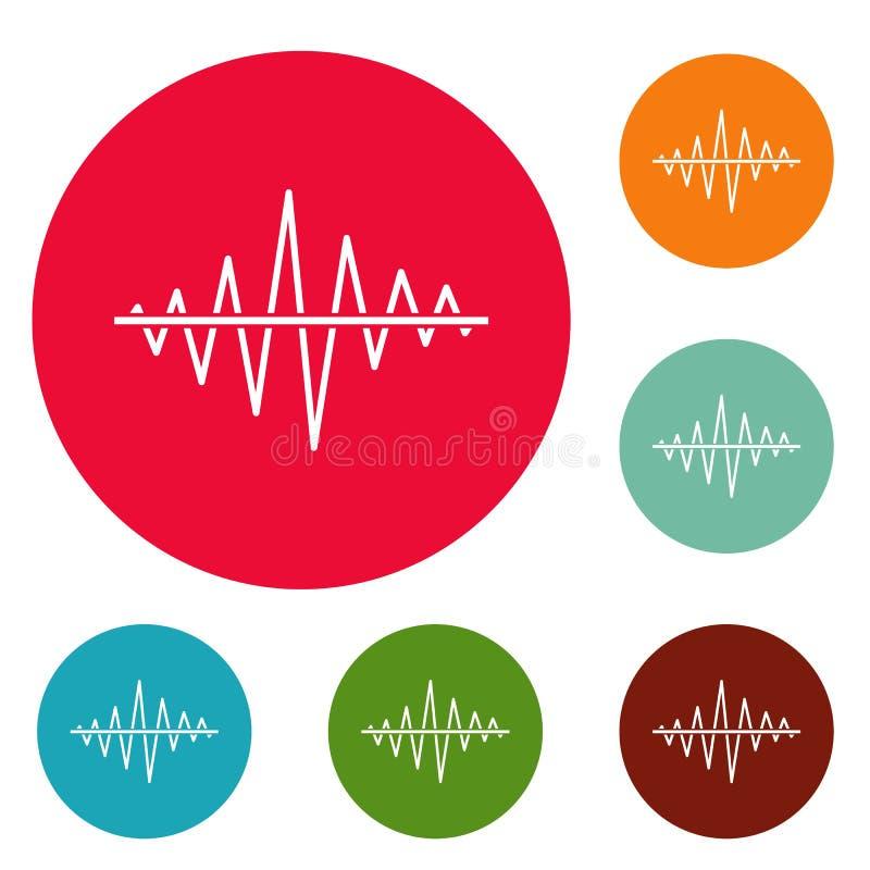 Vector determinado del círculo de los iconos de la radio de la voz del equalizador libre illustration