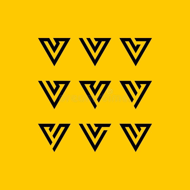 Vector determinado del diseño del logotipo de la letra v stock de ilustración
