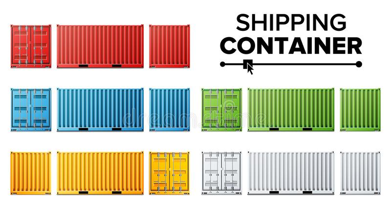 Vector determinado del envase del buque mercante Concepto del contenedor de la carga Logística, transporte Aislado en blanco ilustración del vector