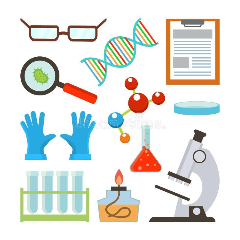 Vector determinado del equipo de laboratorio Accesorios de la ciencia Vidrios, DNA, estructura, molécula, libreta, Petri, cuenco, libre illustration