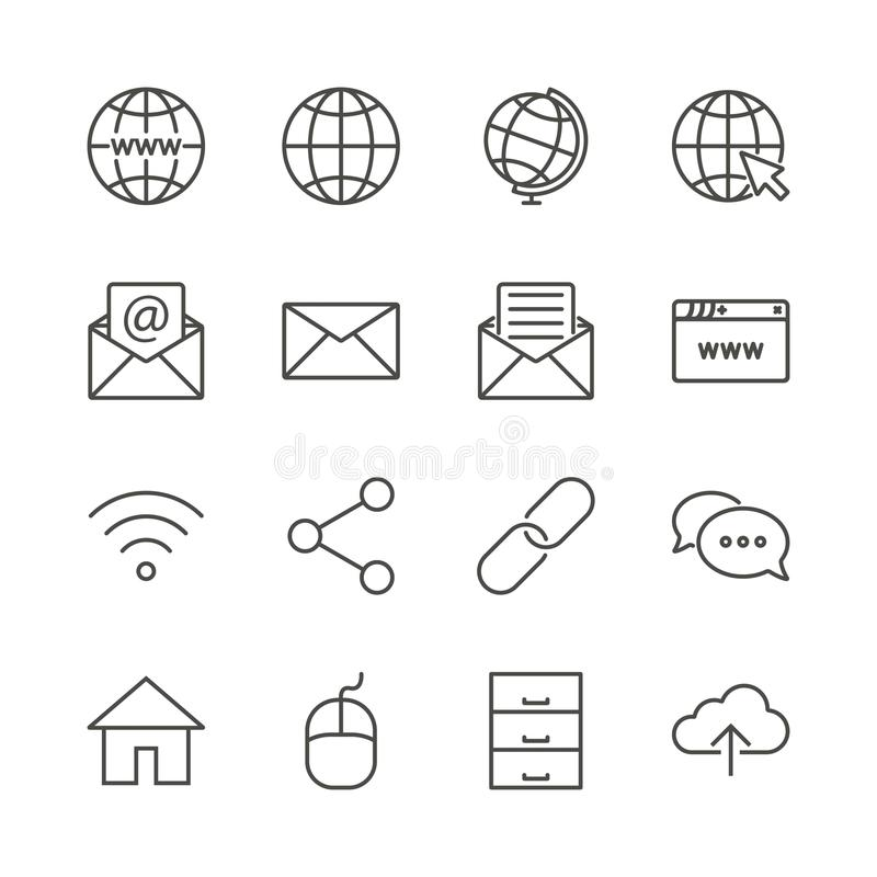 Vector determinado del icono de Internet Línea aislante de la colección del símbolo de la red libre illustration