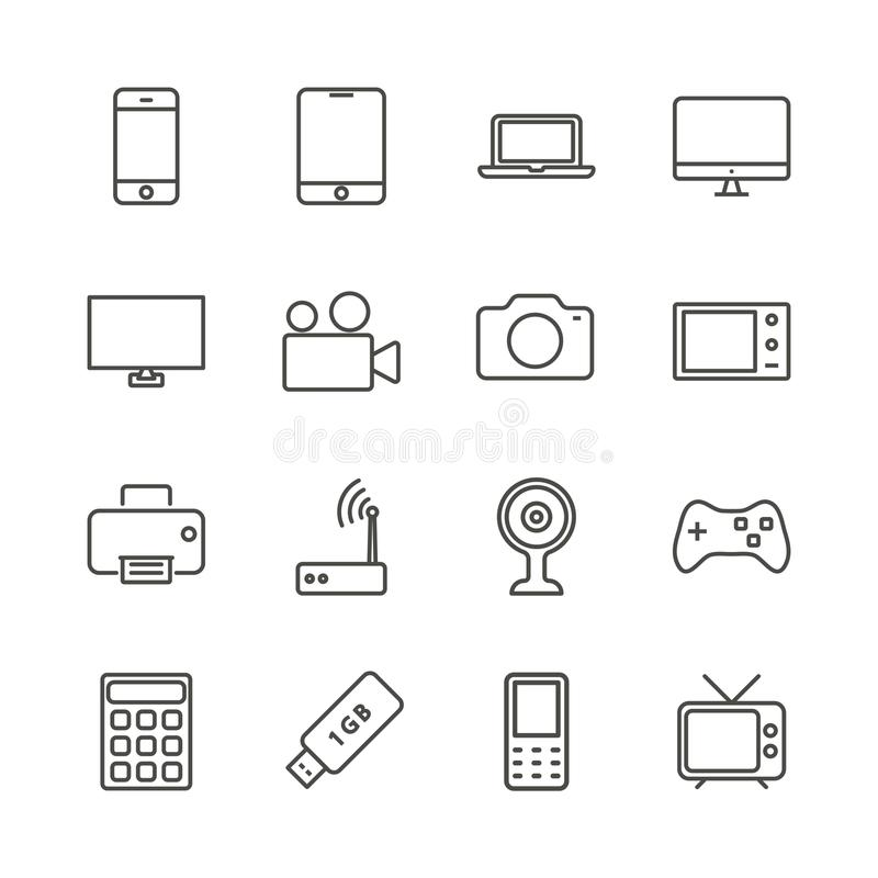 Vector determinado del icono del dispositivo electrónico Colección de la tecnología del esquema libre illustration