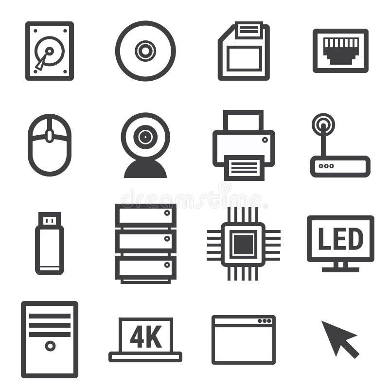 Vector determinado del icono del ordenador en el fondo blanco ilustración del vector