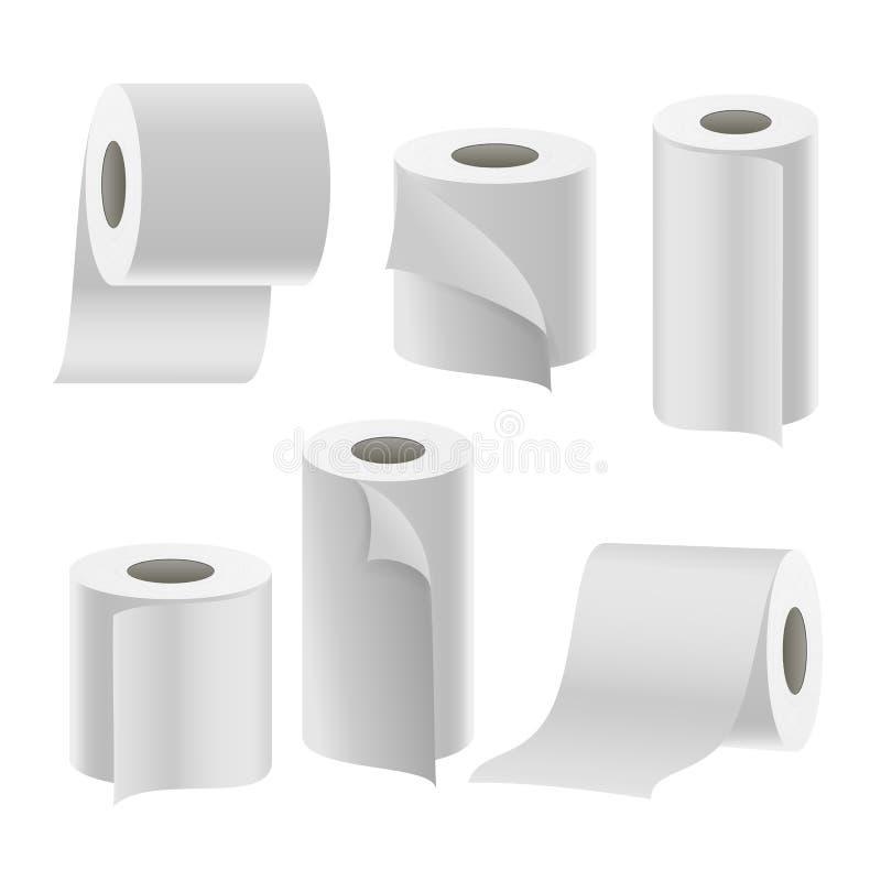 Vector determinado del rollo de cinta de papel Higiene del cuarto de baño espacio en blanco del papel higiénico 3D libre illustration