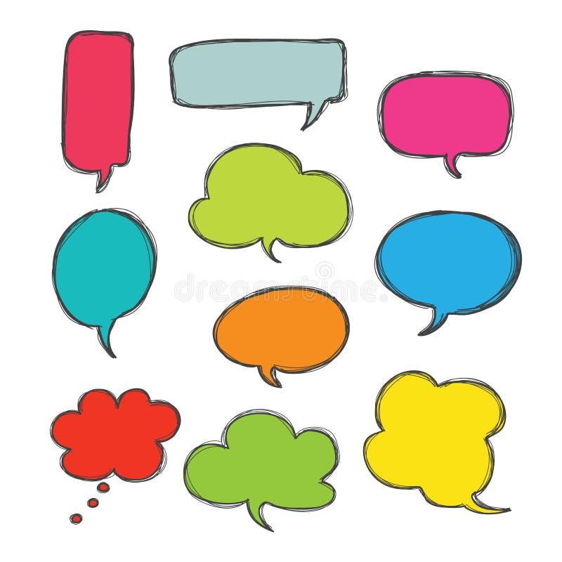 Vector determinado dibujado mano del icono del color del discurso de la burbuja libre illustration