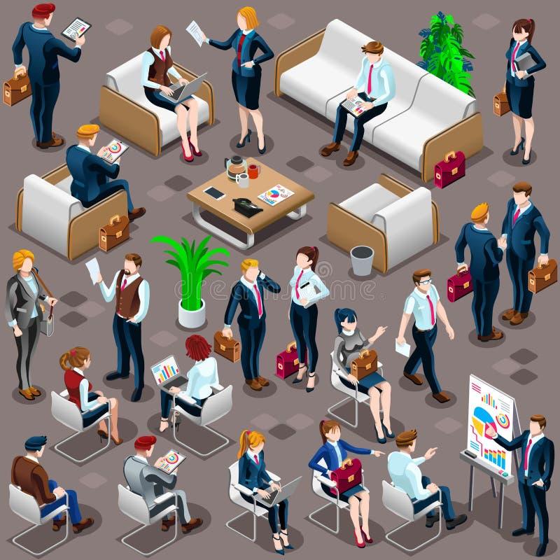 Vector determinado diverso Illustratio del icono 3D del negocio de la gente isométrica ilustración del vector