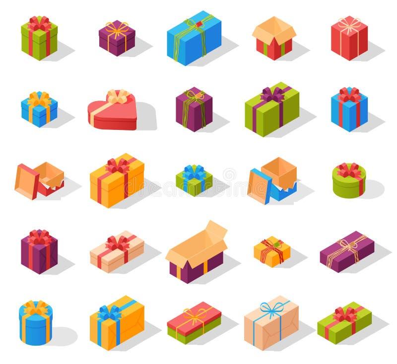 Vector determinado isométrico de la caja de regalo stock de ilustración