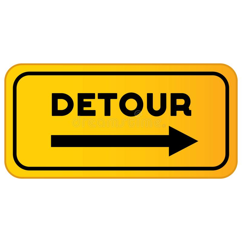 Free Vector Detour Road Sign Royalty Free Stock Image - 103436626