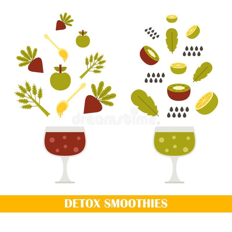 Vector detox smoothies stock illustratie