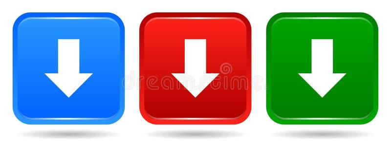 Vector di colori blu del bottone quadrato di download l'icona rossa e verdi illustrazione di stock