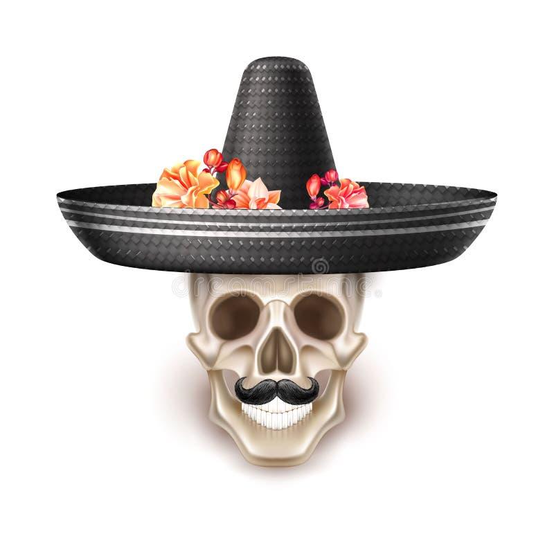 Vector dia de los muertos day of dead skull flower royalty free illustration