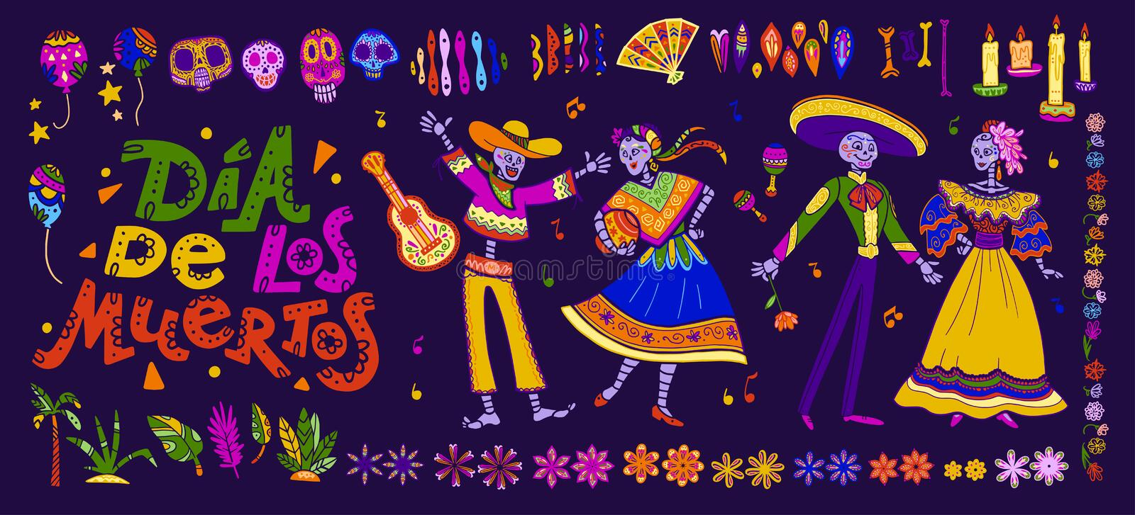 Vector dia de los muertos set of mexico traditional elements, symbols & skeleton characters in hand drawn style isolated on dark b royalty free illustration