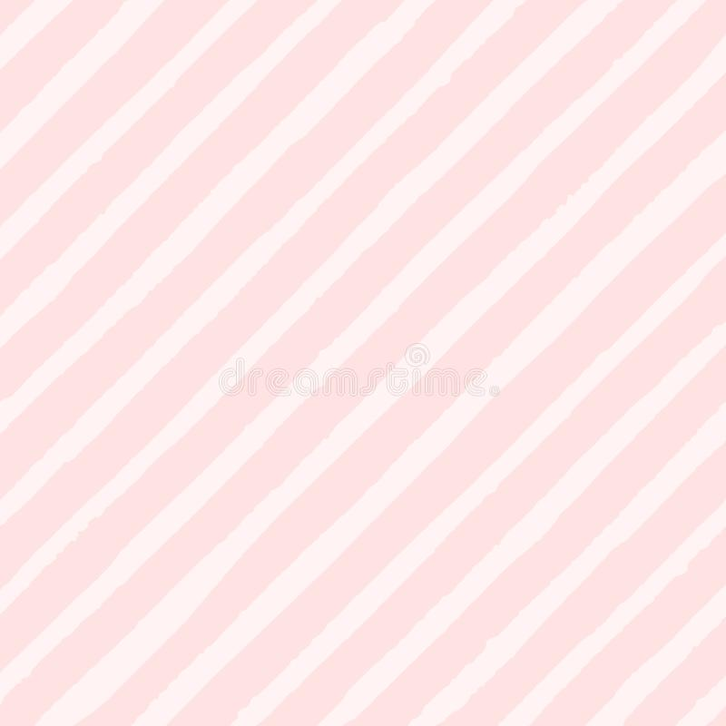 Vector diagonal stripes of pastel pink colors seamless pattern royalty free illustration