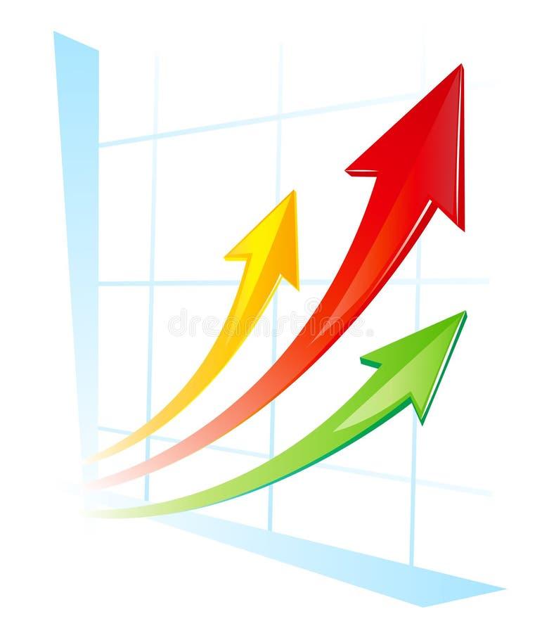 Vector diagram. Growing 3 arrows vector illustration