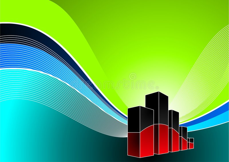 Vector diagram illustration. With line on wave background royalty free illustration