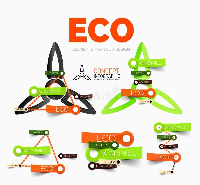Vector Diagrammelementsatz eco Windmühlen-Konzeptikonen mit Plastikpapierartaufklebern vektor abbildung
