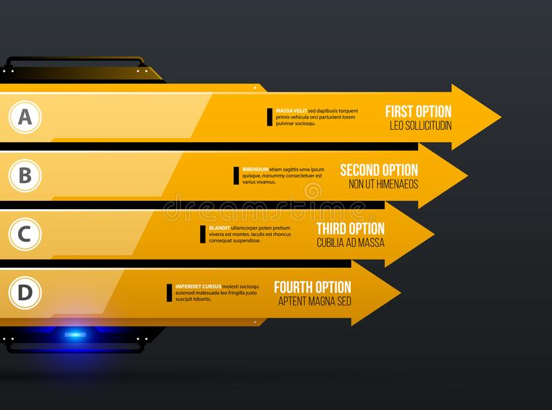 Vector Diagrammschablone mit vier Pfeilen/Wahlen in gelber industrieller techno Art lizenzfreie abbildung
