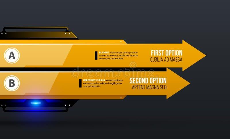 Vector Diagrammschablone mit zwei Pfeilen/Wahlen in gelber industrieller techno Art stock abbildung
