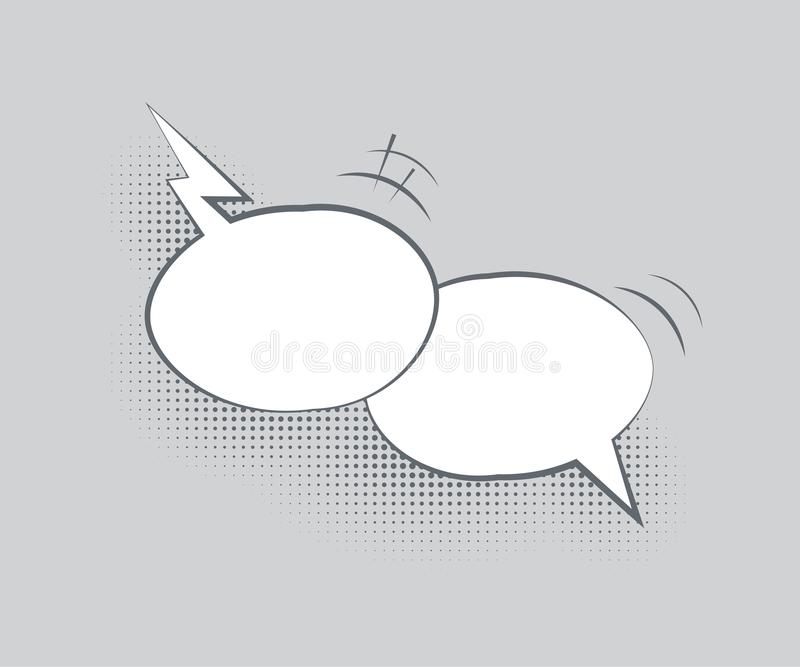 Vector dialog template. Two blank overlapping speech bubbles with halftone shadows on gray background. vector illustration