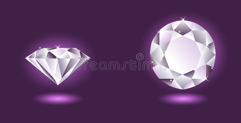 Vector diamant op purpere achtergrond vector illustratie
