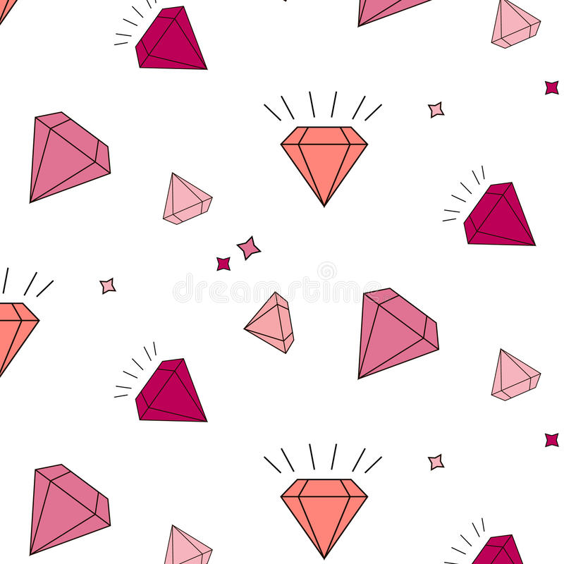Vector diamantes e teste padrão da repetição dos cristais em fundo listrado Objetos luxuosos geométricos simples Jewels a faísca ilustração do vetor