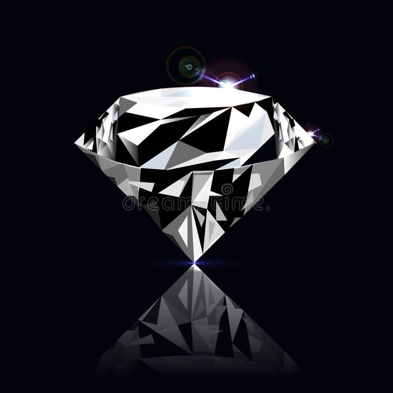 Vector diamond on black background. With mirror reflection stock illustration