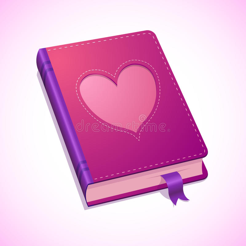 Vector diary with heart for Valentines Day royalty free illustration