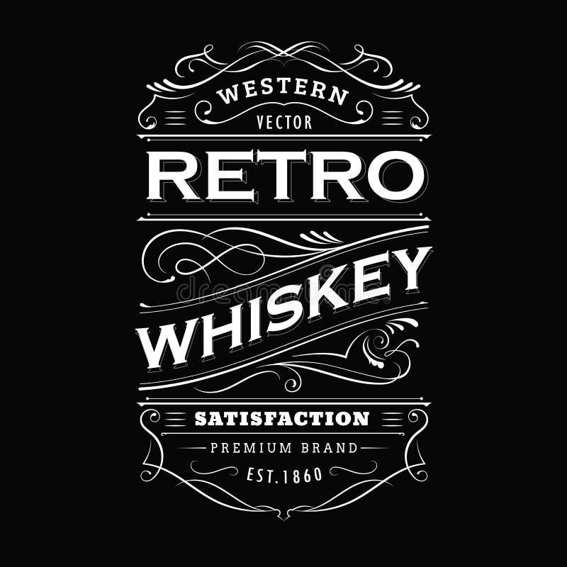 Vector dibujado mano de la pizarra de la tipografía de la frontera del vintage de la etiqueta del whisky stock de ilustración