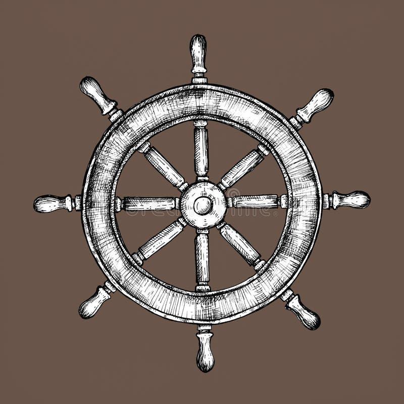 Vector dibujado mano de la rueda de la nave libre illustration