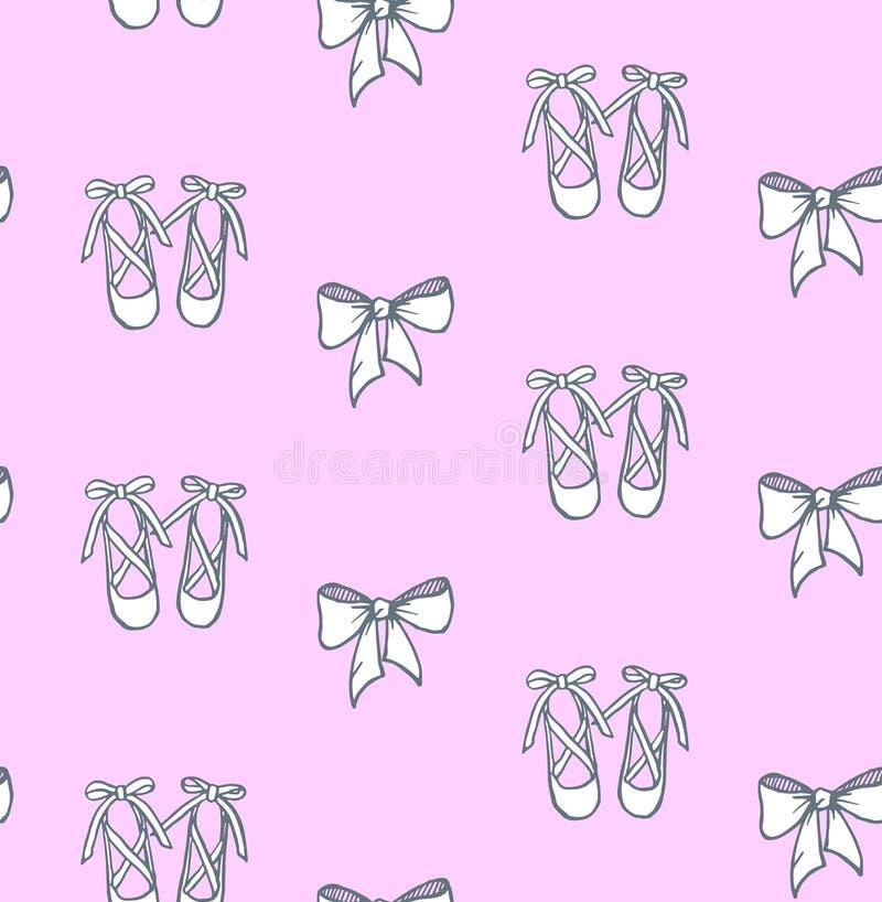 Vector dibujado mano de niña rosada linda de los zapatos de ballet de la textura libre illustration