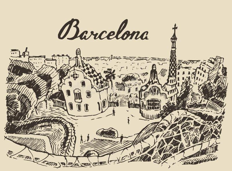 Vector dibujado mano del bosquejo de España del paisaje de Barcelona libre illustration