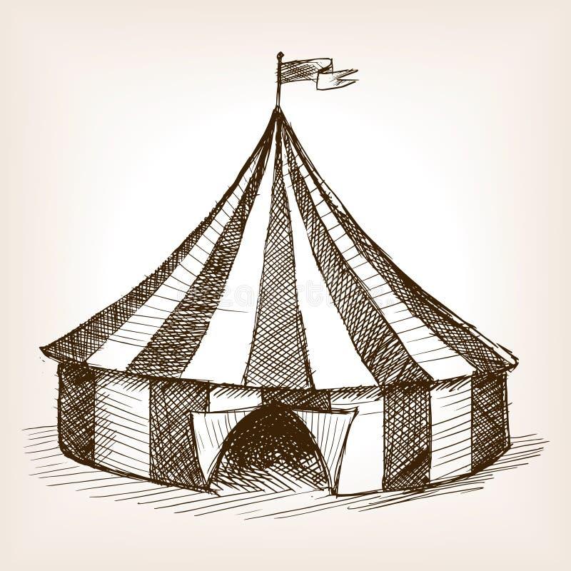 Vector dibujado mano del bosquejo de la tienda de circo stock de ilustración