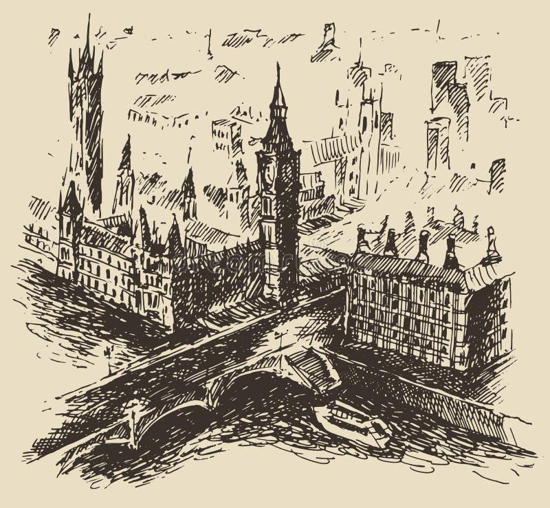 Vector dibujado mano del bosquejo del vintage de Londres Inglaterra stock de ilustración