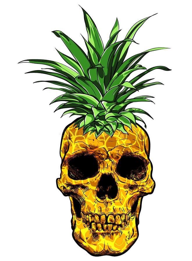 Vector dibujado mano del ejemplo de la piña de la fruta del cráneo stock de ilustración