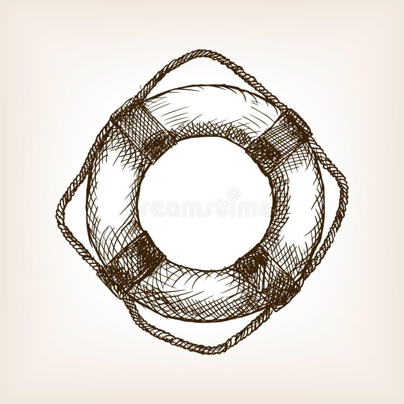 Vector dibujado mano del estilo del bosquejo del salvavidas libre illustration
