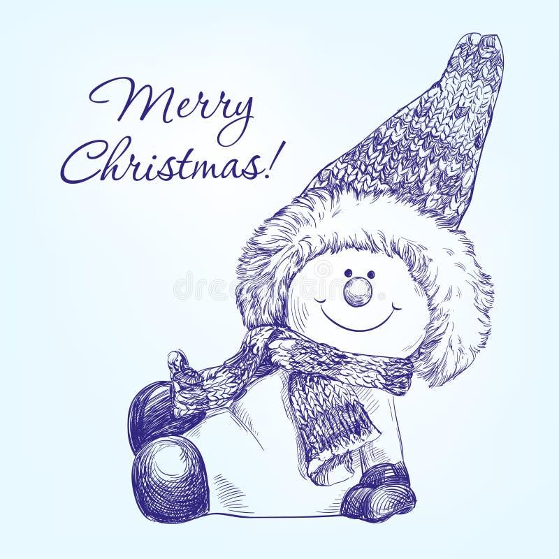 Vector dibujado mano divertida del muñeco de nieve de la Navidad stock de ilustración
