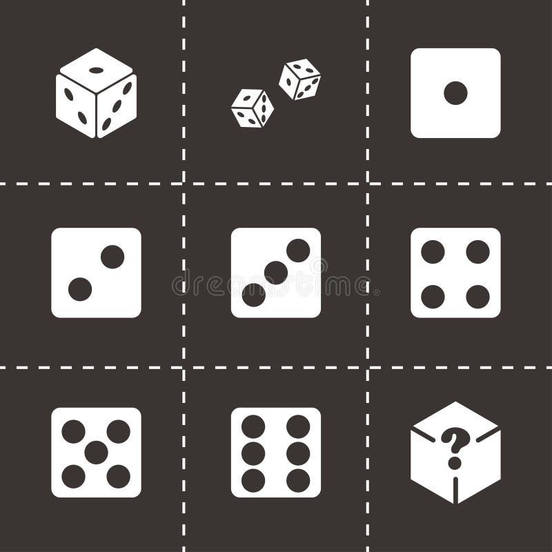 Vector dice icon set. On black background stock illustration