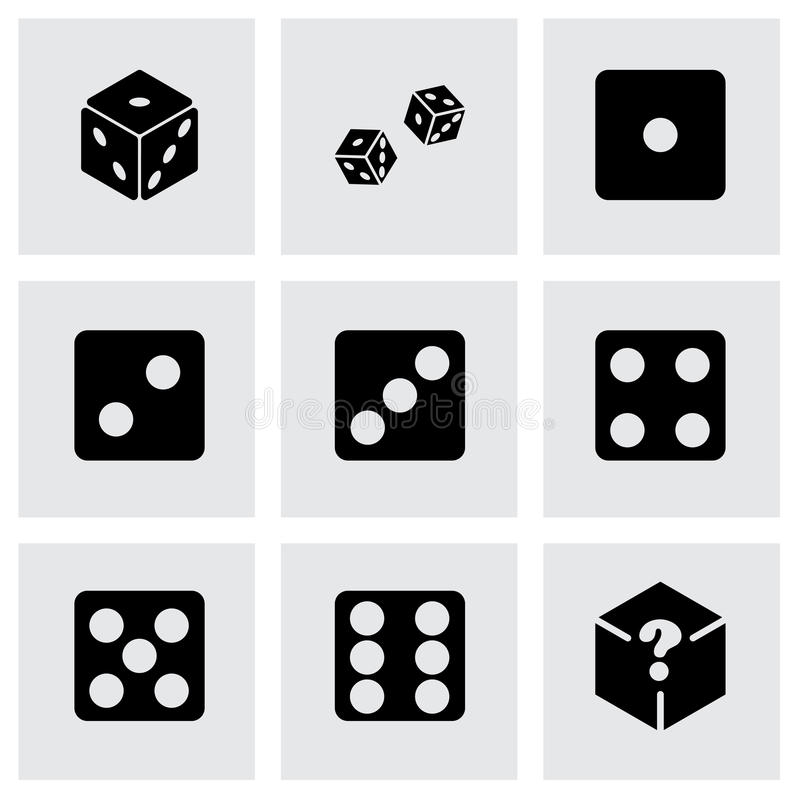 Vector dice icon set. On grey background vector illustration