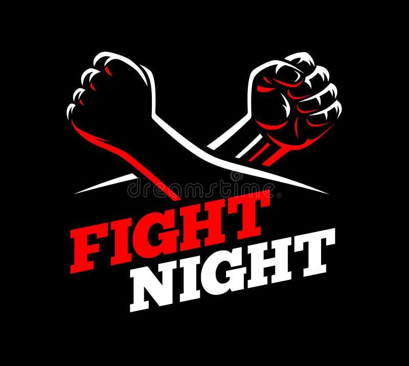 Vector dichtgeklemde vuistenstrijd MMA, schop het in dozen doen, de nacht van de karatesport vector illustratie