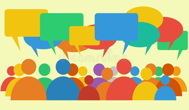 Vector die bespreking & dialoog met uiteenlopende standpunten afschilderen royalty-vrije illustratie