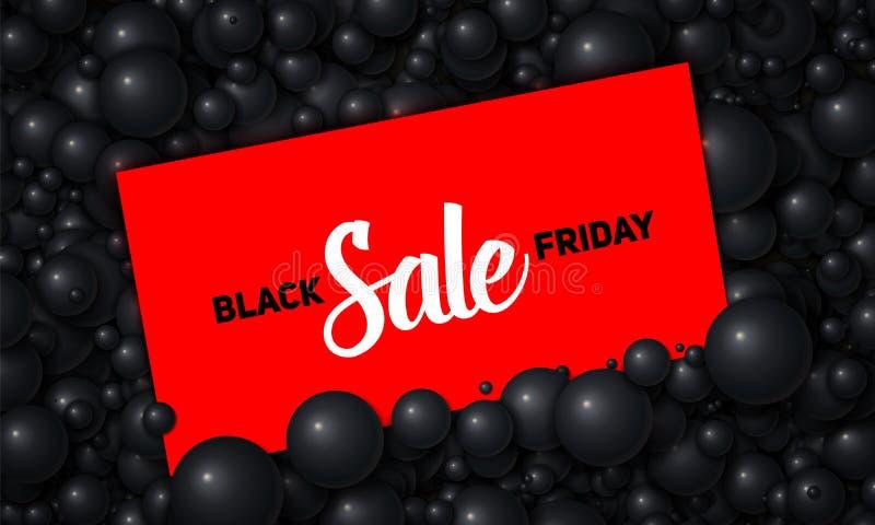 Vector die Black Friday-Verkaufsillustration der roten Karte gelegt in schwarze Perlen oder in Bereiche Volumetrische Bälle Gutsc stock abbildung