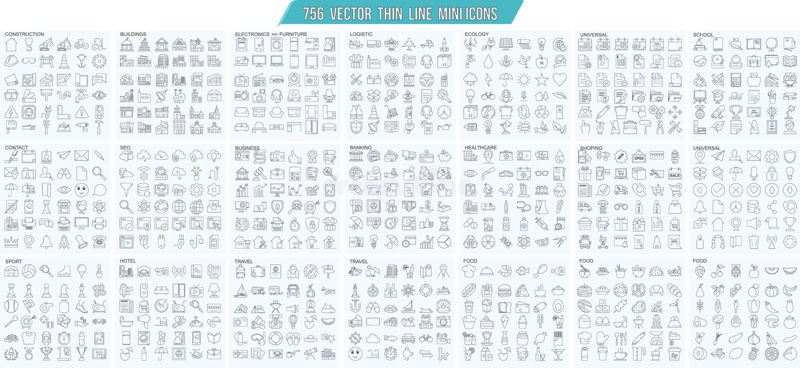 Vector die dünne Linie, die, die einfachen Entwurfsikonen Mini ist, die eingestellt werden, perfektes Gitter 25x25px Pixel Editab stock abbildung