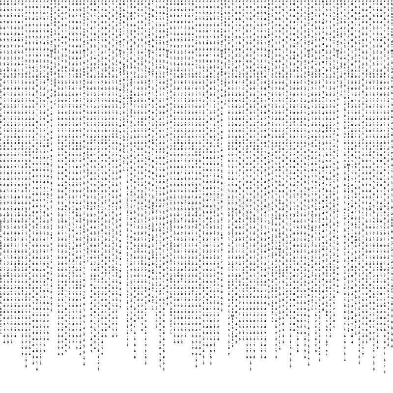 Vector die de abstracte achtergrond van de aantalcode stromen Gegevenscodage stock illustratie