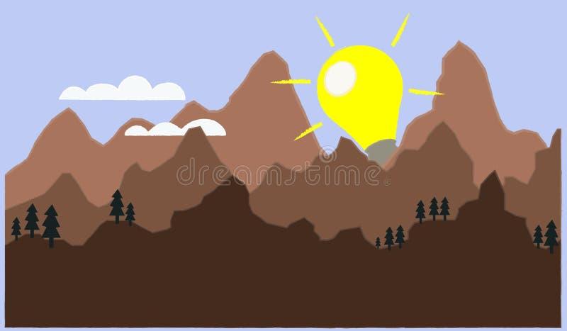 Vector die de ontdekking van een nieuwe idee of een oplossing afschilderen als zonstijging royalty-vrije illustratie