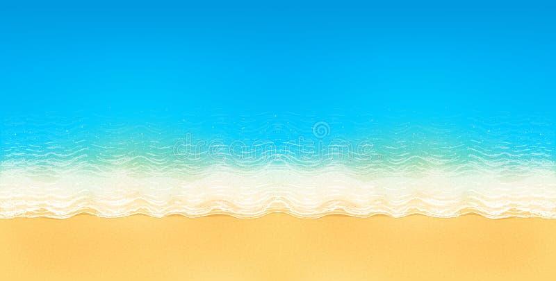 Vector die Draufsicht des ruhigen Ozeanstrandes mit blauen Wellen, mit gelbem Sand und weißen Schaum stock abbildung