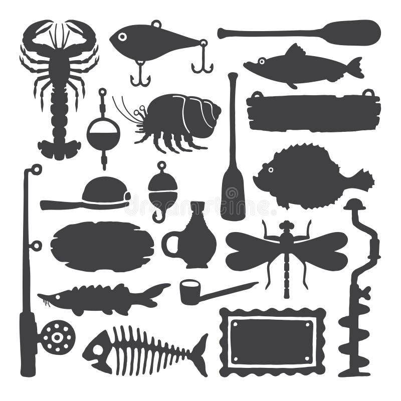 Vector die einfarbige handdrawn eingestellten Gegenstände u. Einzelteile des Fischers vektor abbildung