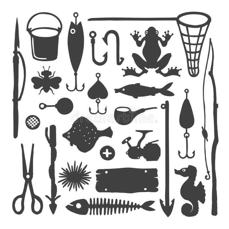 Vector die einfarbige handdrawn eingestellten Gegenstände u. Einzelteile des Fischers lizenzfreie abbildung