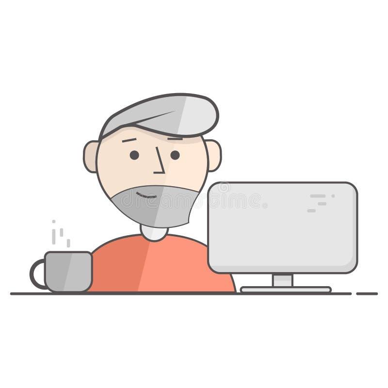 Vector die flache Illustration des glücklichen Mannes arbeitend an Computer Geschäftsprozessikone Illustration für Blog, soziale  vektor abbildung
